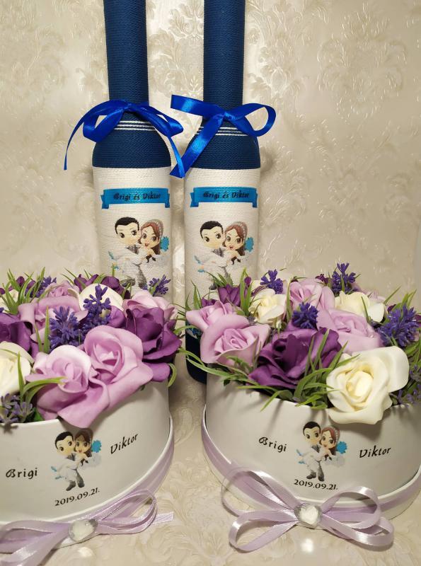 Esküvőre köszönet ajándék kék-lila