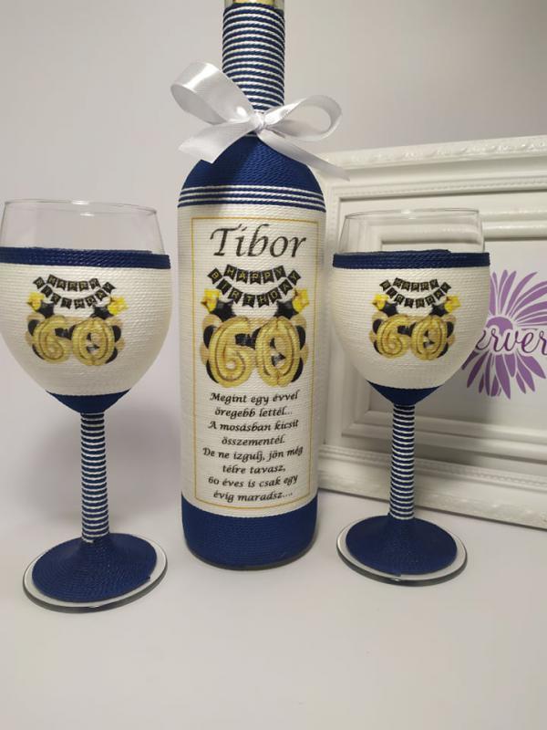 Happy Birthday borosüveg poharakkal
