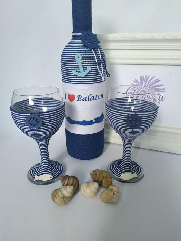 I love Balaton borosüveg+pohár