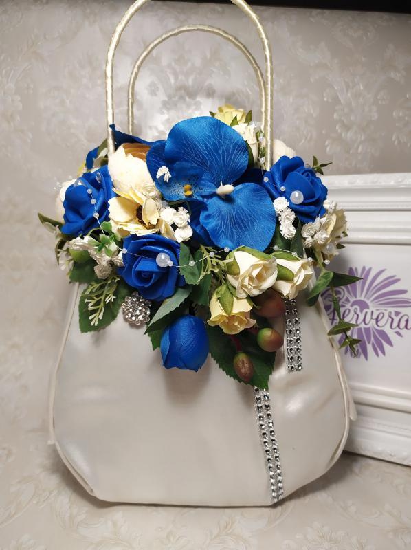 Kék virágos kistáska