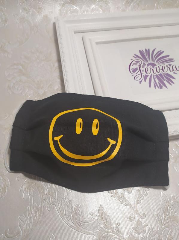 Kétrétegű textil maszk, smile, fekete