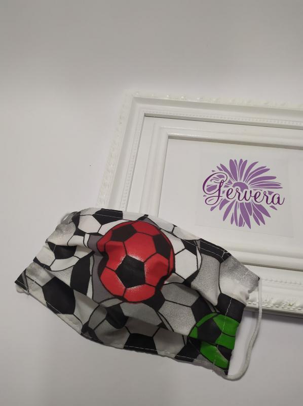 Kétrétegű textilmaszk, focilabdás