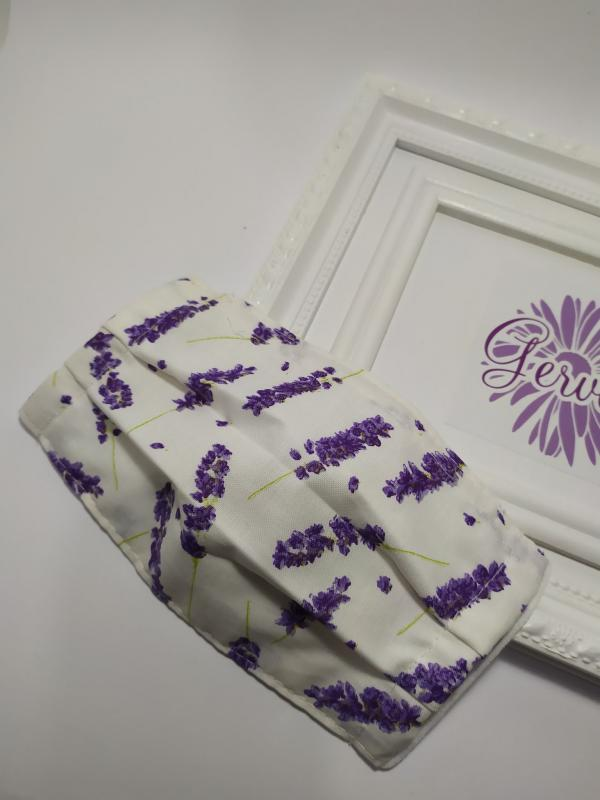 Kétrétegű textilmaszk, levendula mintás