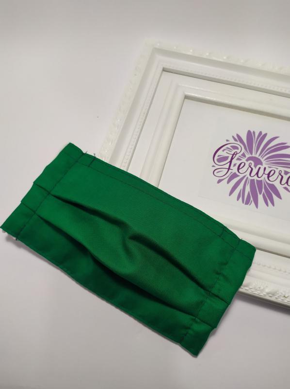 Kétrétegű textilmaszk, zöld színű