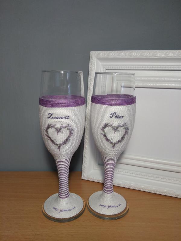 Levendulás pezsgős pohár