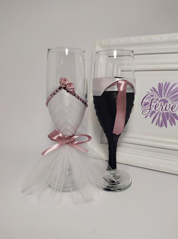 Mályva esküvői pezsgős pohár