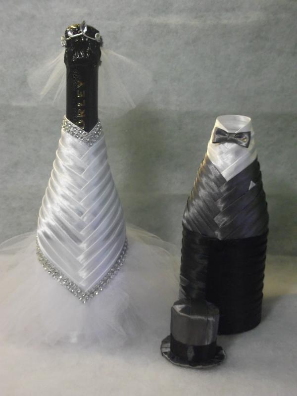 Menyasszony-vőlegény ruha pezsgőre