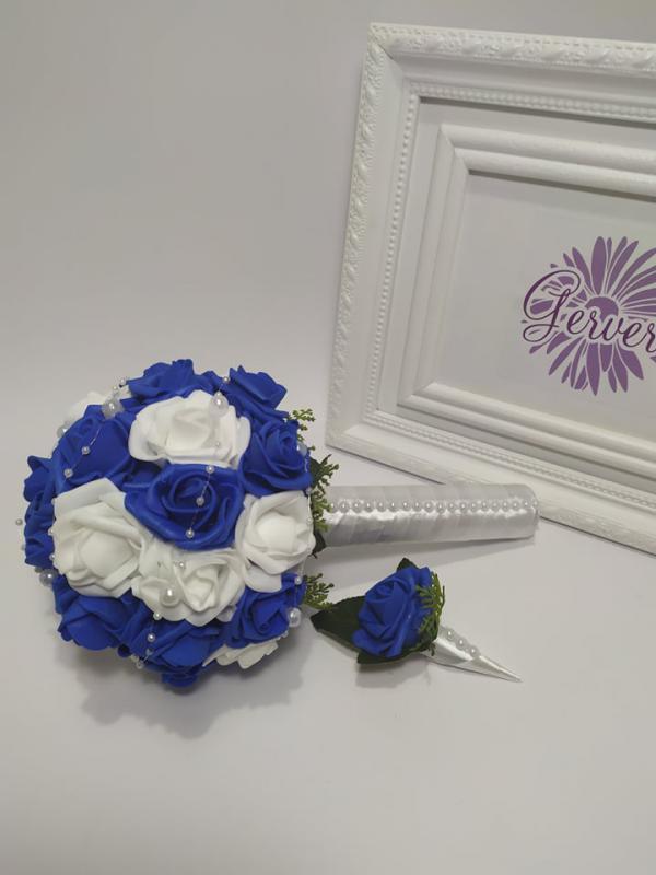 Mini menyasszonyi csokor, kék-fehér