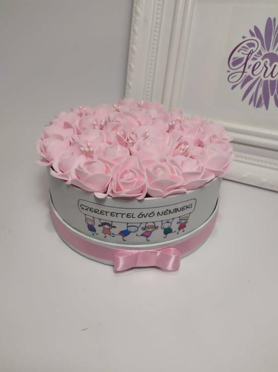 Mini virágbox, púderrózsaszín rózsa
