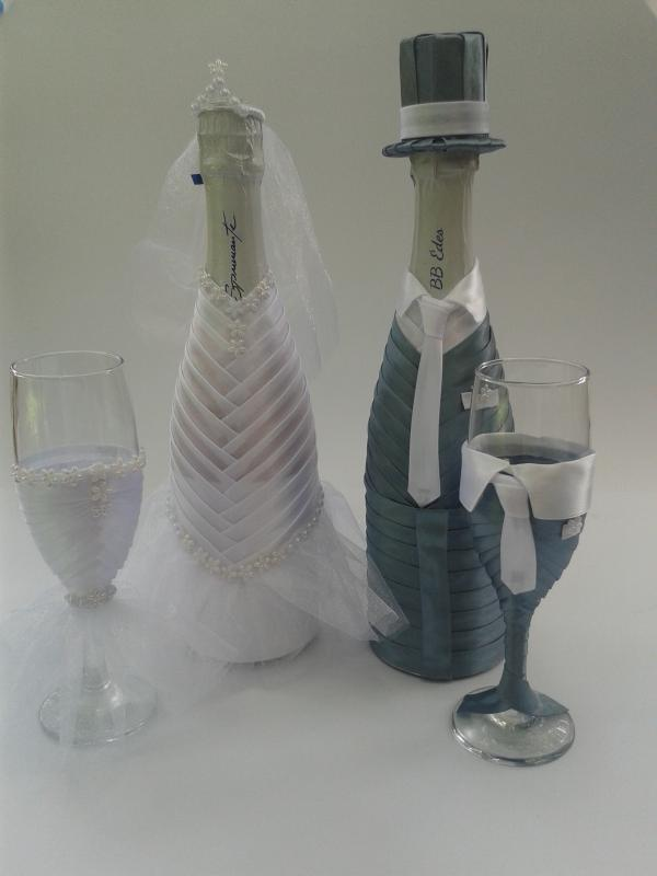 Pezsgő garnitúra esküvőre, szürke, fehér