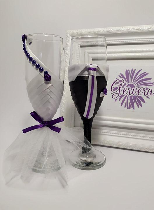 Pezsgős pohár, lila