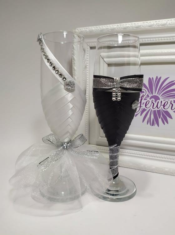 Pohár esküvőre, ezüst rózsa