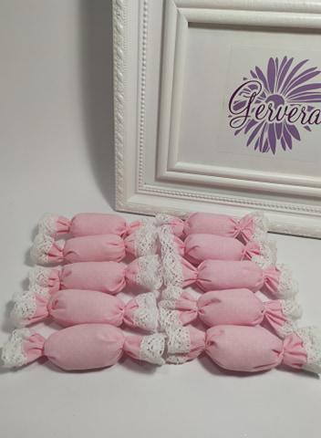 Szaloncukor, textil, rózsaszín, pöttyös