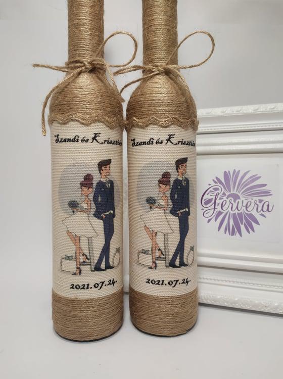 Szülőköszöntő pálinkás üveg, vintage