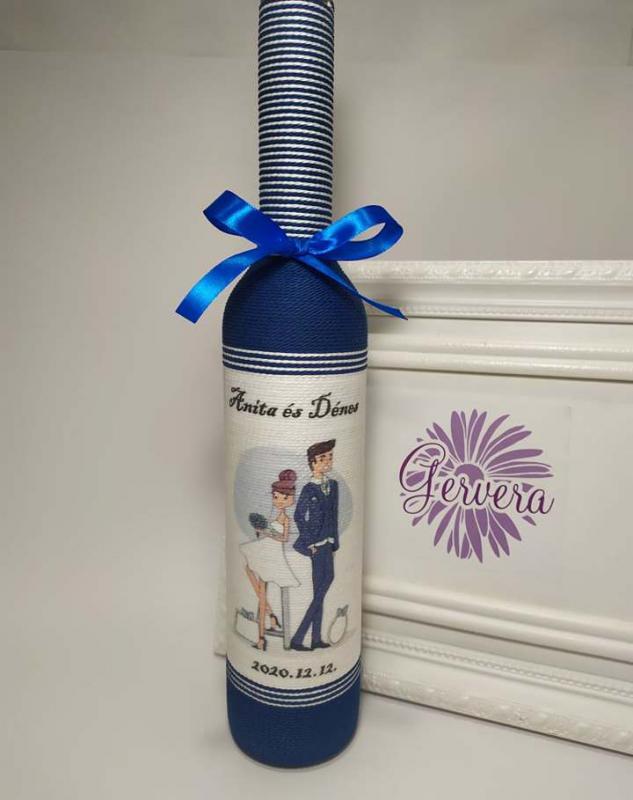 Szülőköszöntő üveg, kék