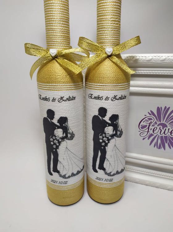 Szülőköszöntő üvegek, uszályos menyasszonyi ruha