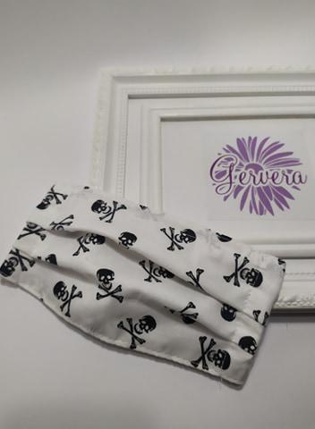 Textil maszk, kétrétegű, fehér-halálfejes