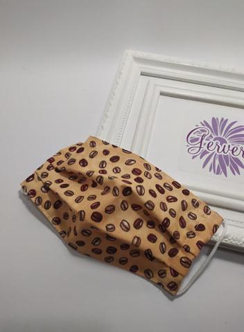 Textil maszk, kétrétegű, kávé mintás