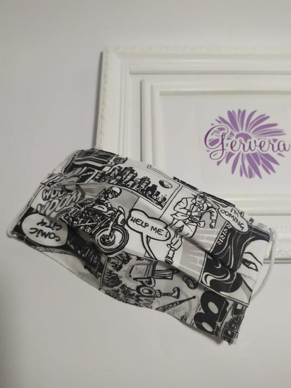 Textil maszk, kétrétegű, képregényes,fekete-fehér