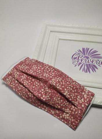 Textil maszk, kétrétegű, mályva színű, bogyó mintás