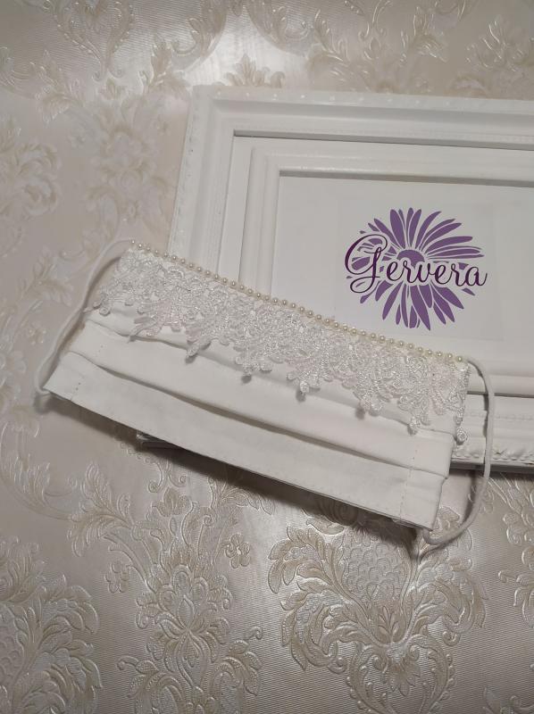 Textil maszk, kétrétegű, menyasszony