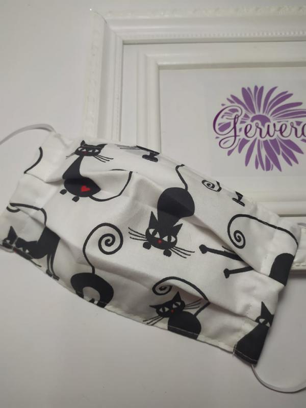 Textil maszk, kétrétegű nyújtózkodó cica