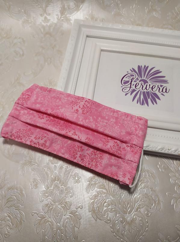 Textil maszk, kétrétegű, rózsaszín