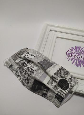 Textil maszk, kétrétegű, újság mintás
