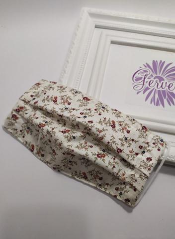 Textil maszk, kétrétegű, virág mintás