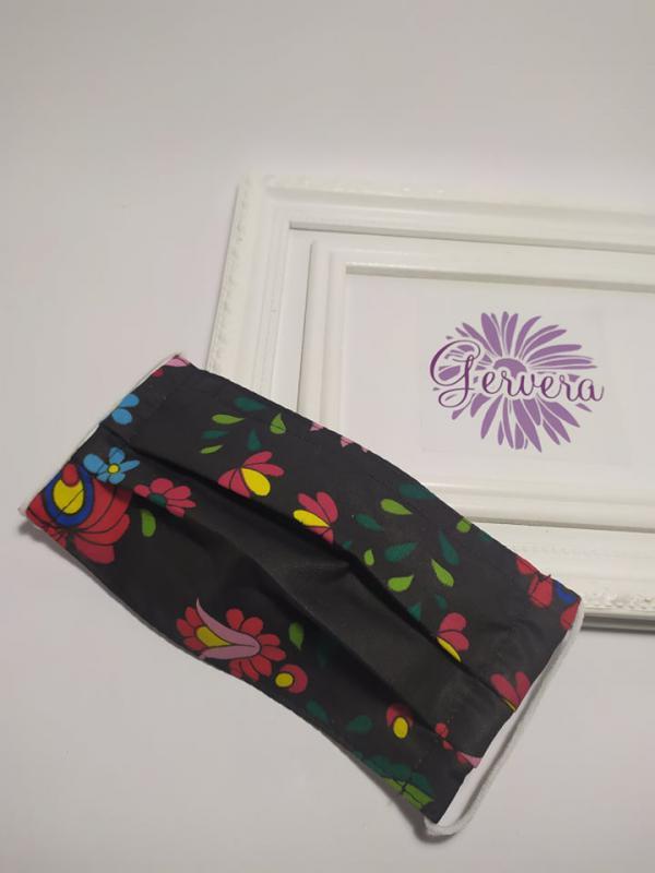Textil maszk, kétrétegű, virágos