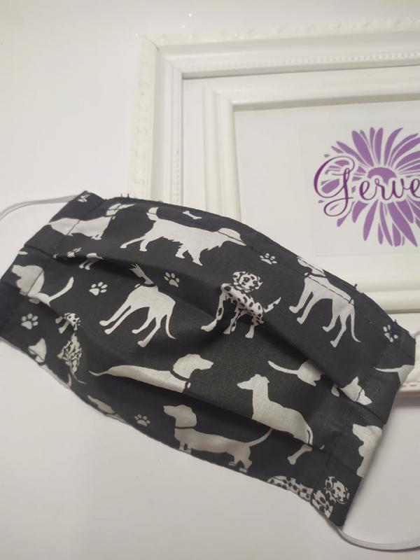 Textil maszk,kétrétegű, kutyás-fekete
