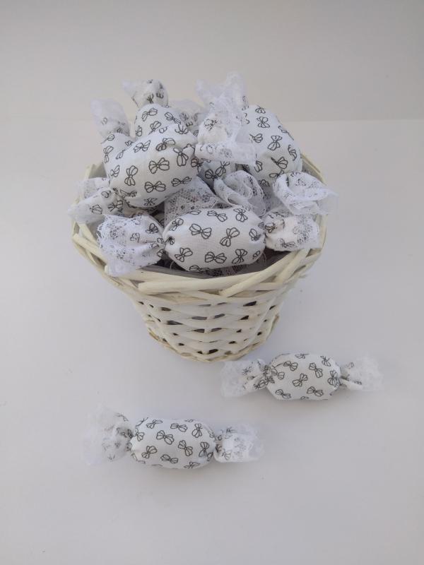 Textil szaloncukor, fehér,szürke masnis