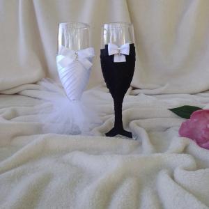 Pezsgős pohár esküvőre, masnis
