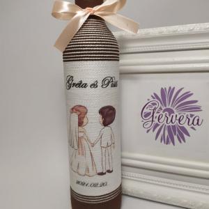 Szülőköszöntő üveg esküvőre, barna