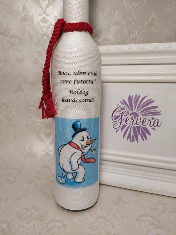 Vicces zsinórozott karácsonyi üveg