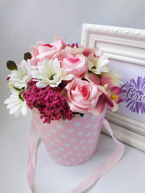 Virágbox, pöttyös, rózsaszín