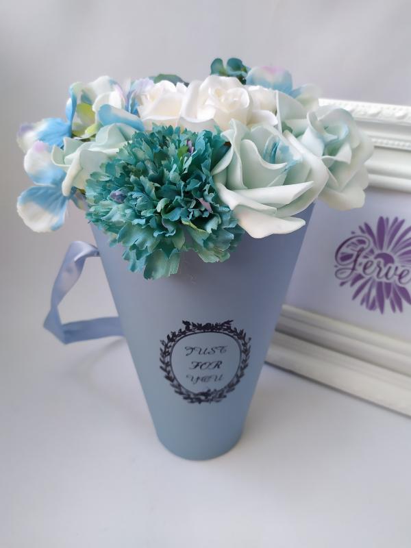 Virágbox, tölcsér, kék