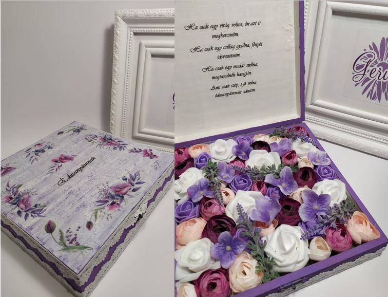 Virágos doboz édesanyáknak, lila