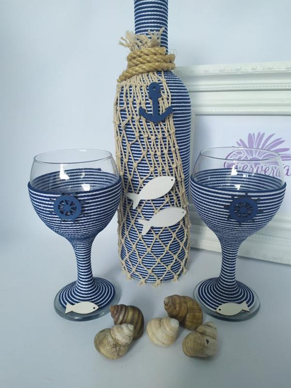 Vízparton borosüveg+pohár