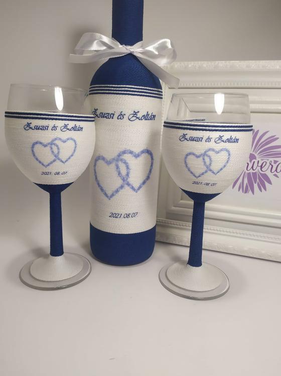 Zsinóros boros szett esküvőre- kék szívvel