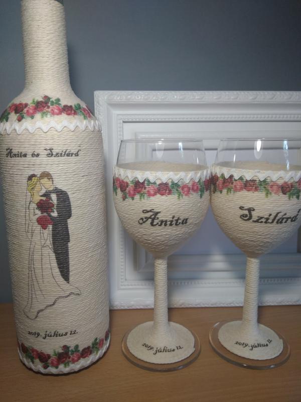 Zsinórozott boros szett nem csak esküvőre