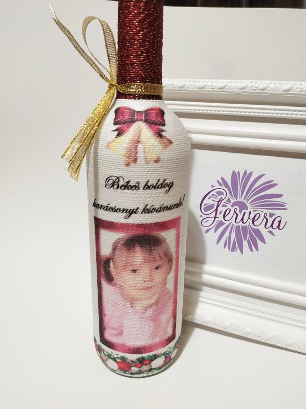 Zsinórozott boros üveg, fotóval, karácsonyra