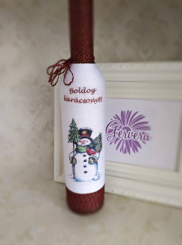 Zsinórozott pálinkás üveg, boldog karácsonyt