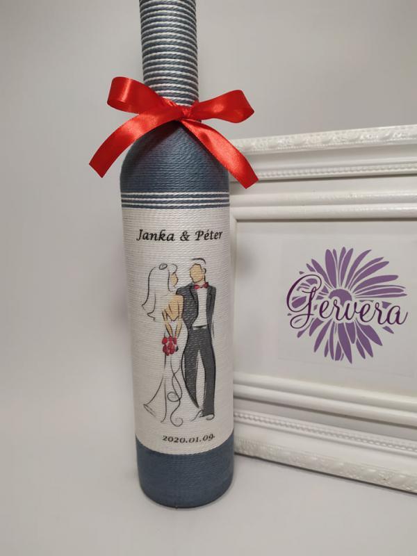 Zsinórozott üveg esküvőre, szürke