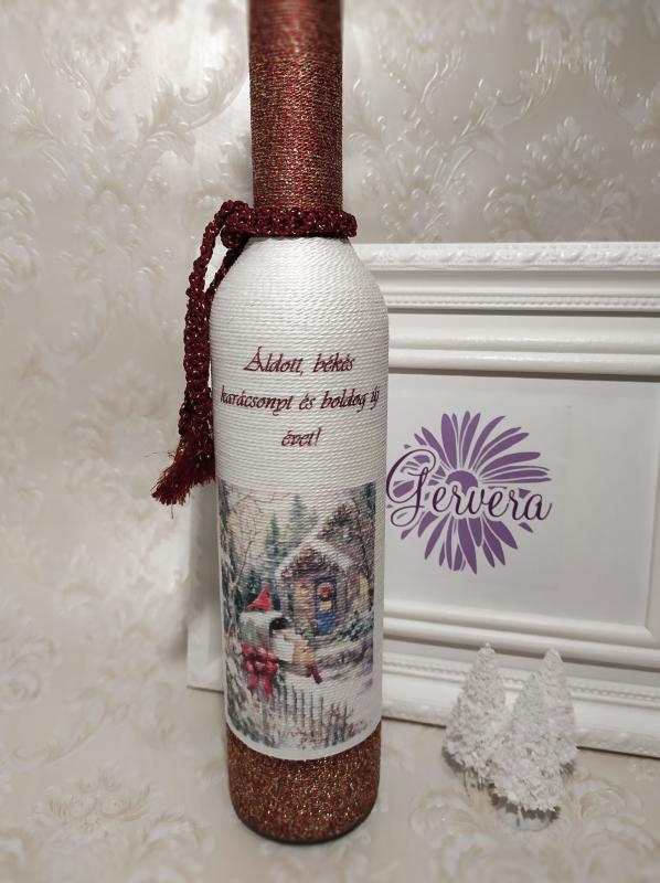 Zsinórozott üveg karácsonyra, bronz
