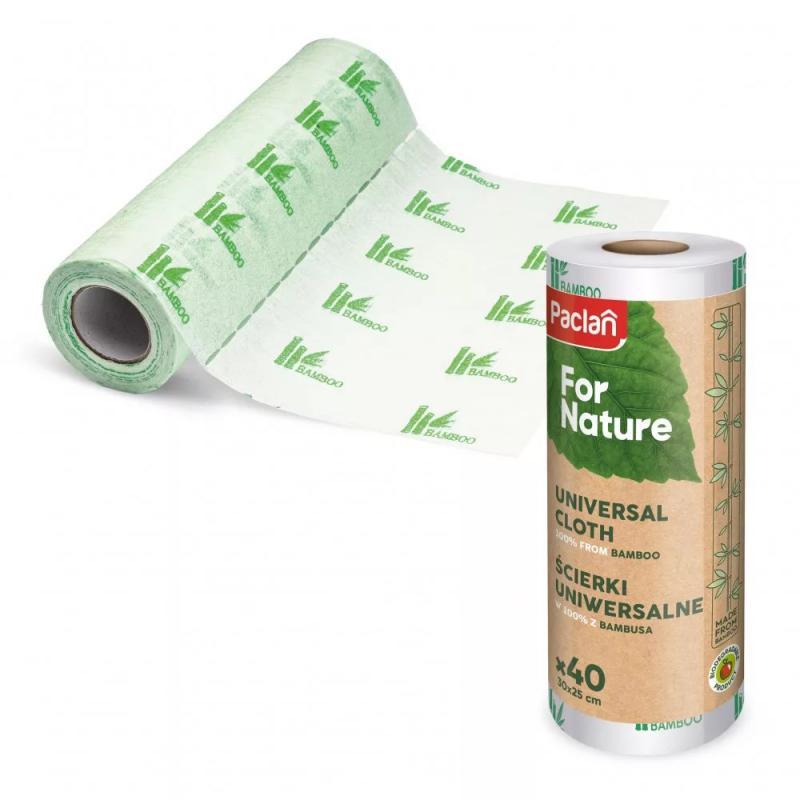 Paclan For Nature Bambusz Törlőkendő Tekercsen (40db/tekercs) 40cmx25cm
