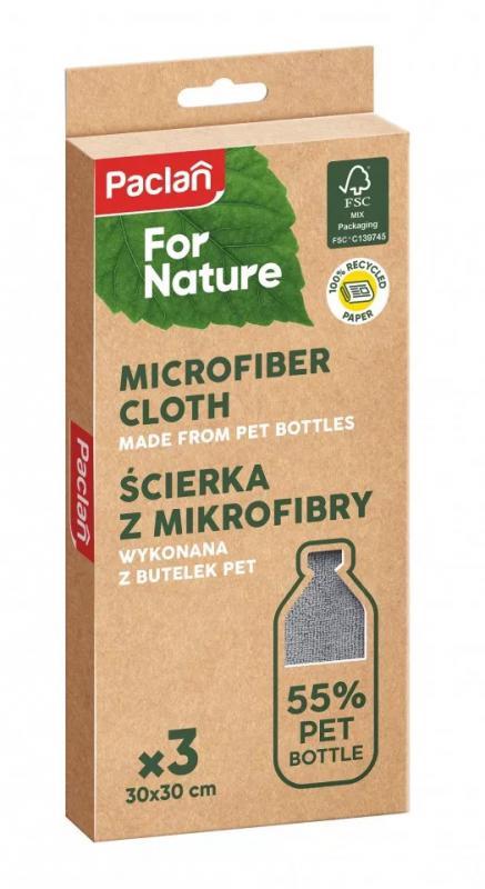 Pclan for Nature mikroszálas törlőkendő 55%-ban PET palackból 3db 30cm*30cm