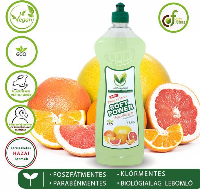 Cudy Soft Power mosogatószer, pomelo-citrus (1 l)