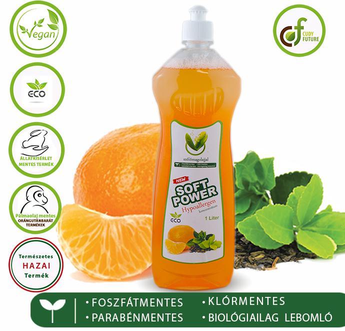 Cudy Soft Power mosogatószer, tea-mandarin (1 l)