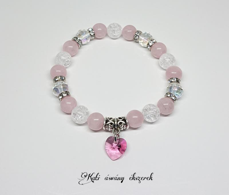 Swarovski szíves szeretet ásvány karkötő rózsakvarcból és hegyikristályból